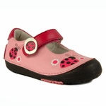 Momo Baby Mary Jane Leather Shoes - Ladybugs Pink (First Walker & Toddler)