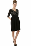 "Momo Maternity ""Adela"" Lace V-Neck Empire Waist Dress"