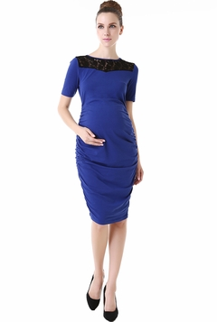"Momo Maternity ""Ally"" Lace Inset Body Con Dress"