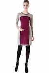 "Momo Maternity ""Andrea"" Colorblock Crew Neck Sweater Dress - Pre-order"