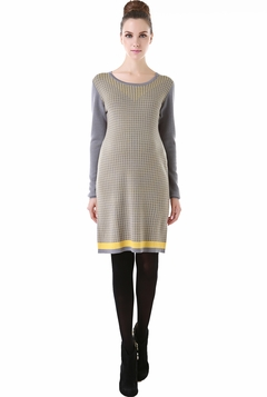 "Momo Maternity ""Angela"" Checkered Pattern Long Sleeve Sweater Dress"