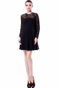 "Momo Maternity ""Aspen"" Lace Top Chiffon Swing Dress"