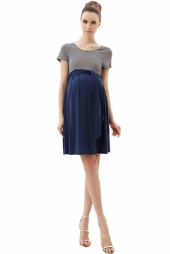 """Momo Maternity """"Bethany"""" Scoop Neck Striped Belted Tie Dress"""