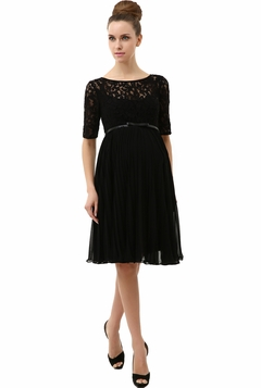"Momo Maternity Black ""Alice"" Pleated Lace Fit & Flare Dress"