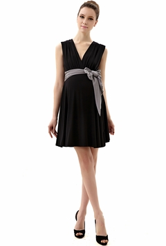 "Momo Maternity Black ""Dana"" V-Neck Colorblock Belted Dress"