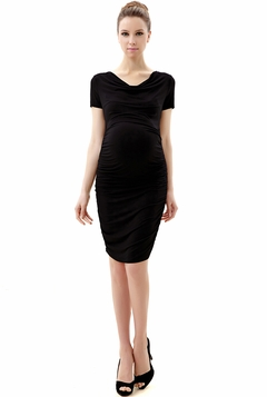 "Momo Maternity Black ""Kate"" Cowl Neck Ruched Midi Dress"