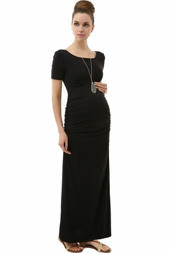 "Momo Maternity Black ""Scarlet"" Tee Shirt Column Dress"
