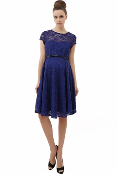 "Momo Maternity Blue ""Olivia"" Lace Sweetheart Skater Dress"