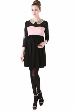 "Momo Maternity ""Camille"" Chiffon Sequined Embellished Collar Dress"