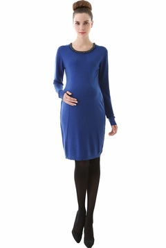 "Momo Maternity ""Carrie"" Embellished Neckline Sweater Dress"
