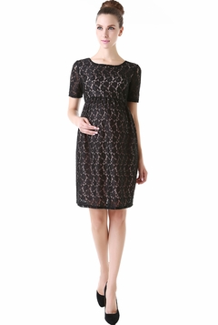 """Momo Maternity """"Clover"""" Lace Pleated Skirt Dress"""
