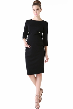 "Momo Maternity ""Daisy"" Side Tabbed Crew Neck Dress"
