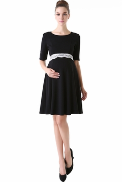 "Momo Maternity ""Delilah"" Open Lace Back Dress"