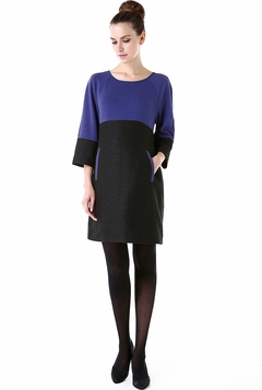 """Momo Maternity """"Dixie"""" Paneled Tweed Pullover Shift Dress  - Pre-order"""