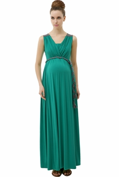 "Momo Maternity Emerald ""Bianka"" Grecian Draped Rolled Belt Maxi Dress"