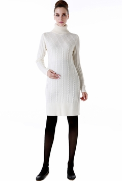 "Momo Maternity ""Erica"" Cable Knit Turtle Neck Sweater Dress"
