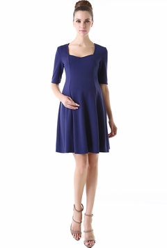 "Momo Maternity ""Frances"" Half Sleeve Sweetheart Neck Skater Dress"