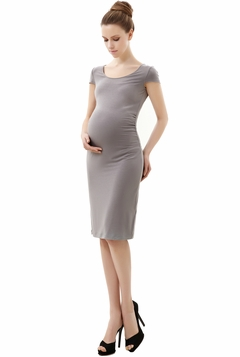 "Momo Maternity Gray ""Reagan"" Cap Sleeve Body Con Midi Dress"