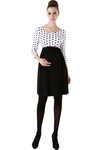 "Momo Maternity ""Hudson"" Polka Dot Crew Neck Jersey Skater Dress"