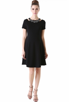 "Momo Maternity ""Iris"" Jeweled Cut Out Skater Dress"