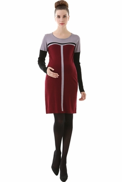 "Momo Maternity ""Jo"" Colorblock Scoop Neck Sweater Dress"
