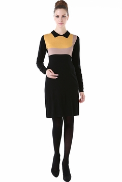 "Momo Maternity ""Joy"" Colorblock Geometric Shaped Sweater Dress"