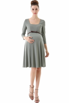 "Momo Maternity ""Kendra"" Belted Seamed Basic Skater Dress"