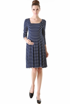 "Momo Maternity ""Kori"" Striped Seamed Basic Skater Dress"