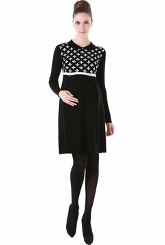 "Momo Maternity ""Marilyn"" Collared Flower Print Sweater Dress"