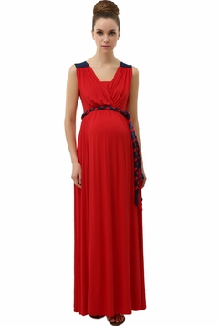"Momo Maternity Poppy ""Bianka"" Grecian Draped Rolled Belt Maxi Dress"