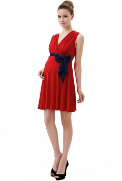 "Momo Maternity Poppy ""Dana"" V-Neck Colorblock Belted Dress"