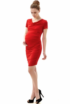 "Momo Maternity Poppy ""Kate"" Cowl Neck Ruched Midi Dress"