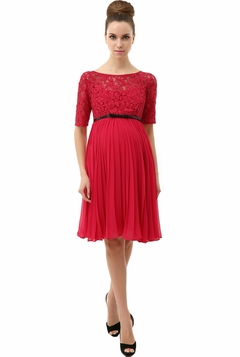 "Momo Maternity Raspberry ""Alice"" Pleated Lace Fit & Flare Dress"
