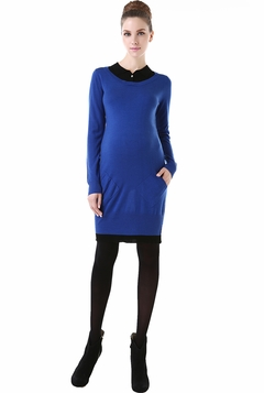 "Momo Maternity ""Tiffany"" Two-Fer Colorblock Sweater Dress"