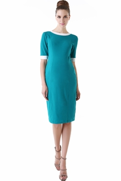 "Momo Maternity ""Veronica"" Contrast Trim Body Con Midi Dress"