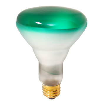 Green Light Bulb - BR30 75W 130V FL Green Incandescent Light Bulb #50823