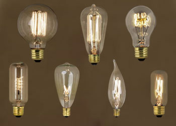 Bulbs:Vintage Style Light Bulbs constructed in the old Edison style. These  Vintage Incandescent Light Bulbs use a Hand-Strung Tungsten Fillament and  are available ...,Lighting