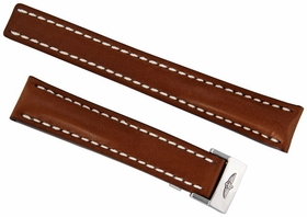 Breitling Brown Leather Watch Band Strap With White Stitching And A Stainless Steel Deployment Buckle