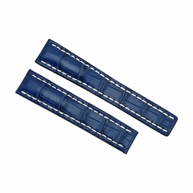 Breitling Blue Leather Watch Band Strap and White Stitching 20-18mm