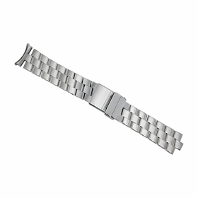 Hadley Roma 22mm Solid Link Design 3 Row Stainless Steel Silver Bracelet.