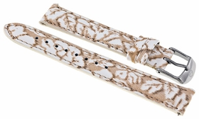 Michele Neutral Floral Patent Leather 16 mm Watch Band Strap 16AA350976
