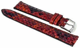 Michele Red Multi Embossed Fashion Leather 18 mm Watch band Strap 18AA320995