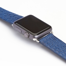 Royce Leather American Azure Blue Alligator Watch Strap for the Apple Watch