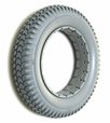 "14""x3"" (3.00-8) Light Gray Solid Urethane Mobility Tire with Knobby Tread for Quickie Power Chairs"