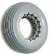 "7""x2"" Light Gray Solid Urethane Mobility Tire with Ribbed Tread"