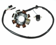 8 Coil Magneto Stator with 3+2 Wiring Connector for 125cc GY6 152QMI & 150cc GY6 157QMJ Scooters
