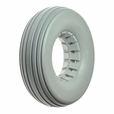 "8""x2-1/4"" Light Gray Solid Urethane Mobility Tire with Ribbed Tread"