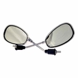 Chrome Scooter Mirror Set with Oblong Mirrors