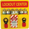 "NMC LOBY Lockout Tagout Center Kit with Hooks, 14"" Width x 14"" Height, Red on Yellow"
