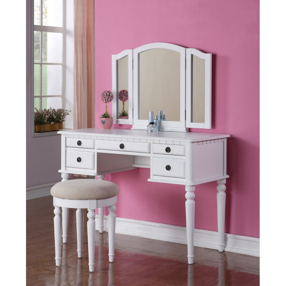 2 pieces antique white wood 5 drawer vanity set with bench